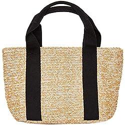 Bolsos de hombro de la bolsa de paja Satchel de las mujeres del verano Tote Bolso ocasional de las compras de la playa del verano