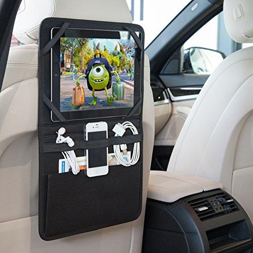 eBuyGB 13011Rücksitz-Organizer KFZ Halterung Tablet Halter Travel iPad Galaxy Storage Kopfstütze, Schwarz, 28cm x 22cm x 3cm