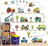 HALLOBO Wandtattoo Fahrzeug Lastkraftwagen LKW Bagger Zug Truck Wandaufkleber Kinderzimmer Wand Sticker Auto Kinderzimmer Kinder Baby
