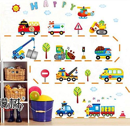 HALLOBO® Wandtattoo Fahrzeug Lastkraftwagen LKW Bagger Zug Truck Wandaufkleber Kinderzimmer Wand Sticker Auto Kinderzimmer Kinder Baby