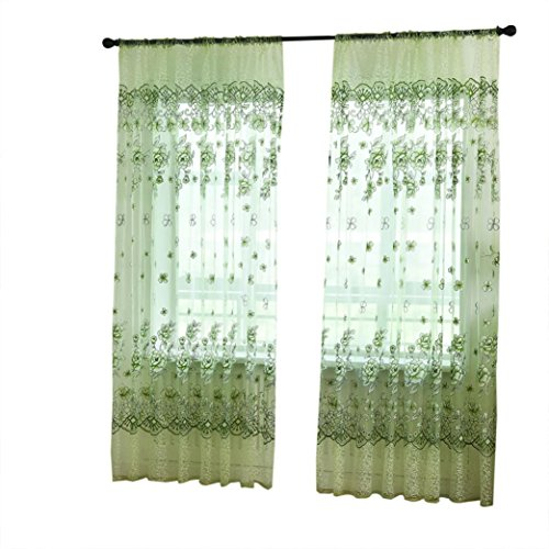 LCLrute Vorhang 200cm x 100cm Blätter schiere Vorhang Tüll Fenster Behandlung Voile Drape Valance 1 Panel Stoff (Grün)