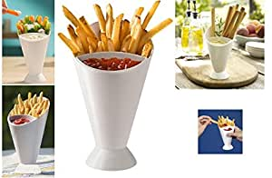 2 Tasty Dipper Cone French Fries Dip Fry Sauce Chutneys Chip Dish Ketchup Snack Holder Plastic Finger Food Party Outdoor Garden Veggies Bowl Serving Stand