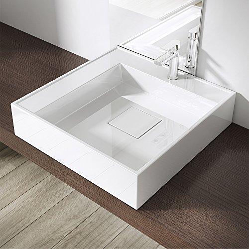 Design Aufsatzwaschbecken Colossum21-R, BTH: 50x50x12cm, als Aufsatz oder Hängewaschbecken geeignet, Waschschale aus Mineralguss, Beckentiefe: Rechts