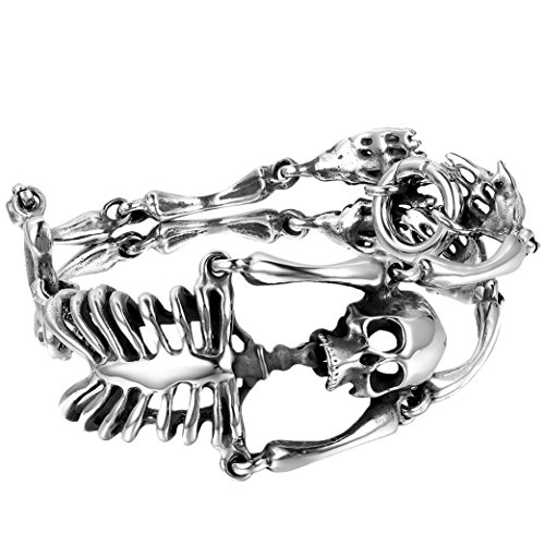 hl Skull Armband, 35mm Breit schwer Groß Schädel Totenkopf Glieder Link Handgelenk poliert Kettenarmband Halloween Geschenk, silber ()