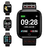 KUNGIX Reloj Inteligente, Smartwatch Pulsera Actividad Inteligente Impermeable IP67 Pantalla Color Pulsera Podómetro con Pulsómetro, Monitor de Calorías, Sueño para Android y iOS Hombre Mujer (Red)