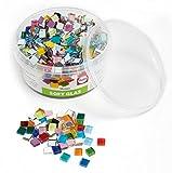 Rayher Hobby 14794999 Soft Glas-Mosaiksteine, Bunte Mischung, Form Quadratisch 1 x 1 cm, Dose 500 g (ca. 525 St.) Glasmosaik