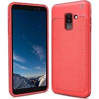 Samsung Galaxy A6 Plus Funda, FindaGift TPU Suave Ultra Delgado [Inastillable][A prueba de choques][Protección completa] Bumper A prueba de huellas Back Cover con base antideslizante para Galaxy A6+ (Rojo)