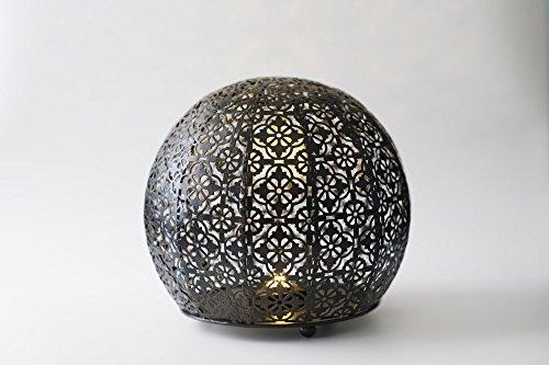 Bronze Groß Outdoor Wand Laterne (Designer, marokkanischem Exotic Metall Globe LED-Licht 23cm–fertig in ein echt aged-bronze Schatten–Kabelloser und die perfekte Indoor Outdoor Beleuchtung für Ihr Home Office Bar Restaurant)
