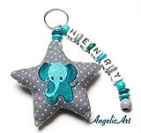 AngelicArt Namenskette/Schlüsselanhänger mit Namen, Personalisiert, Verschiedene Modelle für Schultaschen, Kita-/Wickeltaschen für Babys und Kinder (grau, türkis, Elefant)