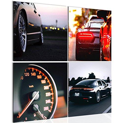 Bild 80 x 80 cm - auto Bilder- Vlies Leinwand - Deko für Wohnzimmer -Wandbild - XXL 4 Teilig Teile - leichtes Aufhängen- 806643a