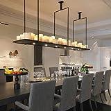MSAJ-Vintage Nordic Dorf Caf¨¦/Restaurant im Living Room Bar Rechteck Tisch Lampe Kerze Kronleuchter 600mm, Warm white