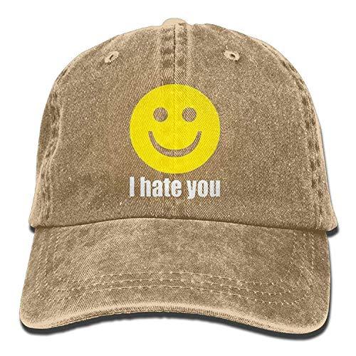errterfte Unisex Vintage Washed Dyed Cotton Snapback Baseball Cap I Hate You Smiley Face Mom Trucker Hat Personalized Hat Comfortable Adjustable - Stricken Hut Jordan