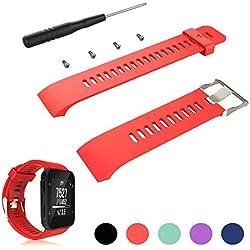 iFeeker Zubehör - Correa ajustable para reloj deportivo GPS Forerunner 35 de Garmin, correa desilicona suave para reloj smartwatch de pulsera, montaje con destornillador y tornillos, rojo