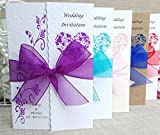 50 Personalised Handmade Gatefold Wedding Invitations- Lots of ribbon/design colours available.