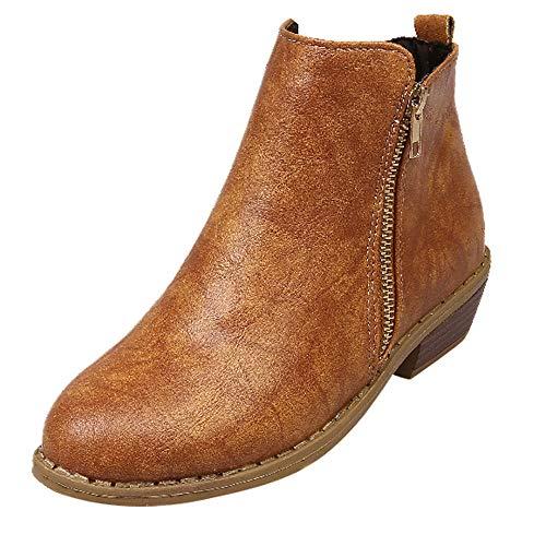 MYMYG Damen Leder Stiefel Martain Boot Frauen Platz Ferse Reißverschluss Schuhe Lederstiefel Stiefel Round Toe Single Schuhe Einfarbige Ankle Boots ()