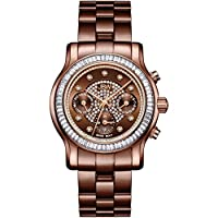 JBW Luxury Women's Laurel 9 Diamonds & Swarovski Crystal Baguette Bezel Watch - J6330I