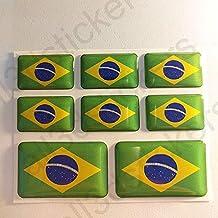 All3dstickers Pegatinas Brasil Resina, 8 x Pegatinas Relieve 3D Bandera Brasil Adhesivo Vinilo