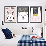 Leinwanddruck CUTE CARTOON Kaninchen Polar Bär Modern Leinwand Bilder Poster Wall Art Gemälde Decor für Kid 's Room, 3Stück, 21cm x 30cm 3 Stück