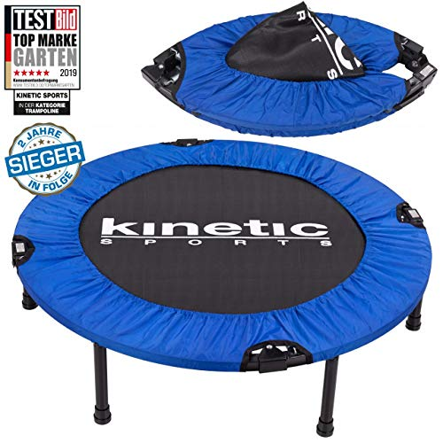 Kinetic Sports 1.Platz Testbild Auszeichnung Fitness Trampolin Indoor Minitrampolin Sprungtraining, Smart Jumping Workout, Durchmesser 91cm, faltbar, Belastbar bis 100kg