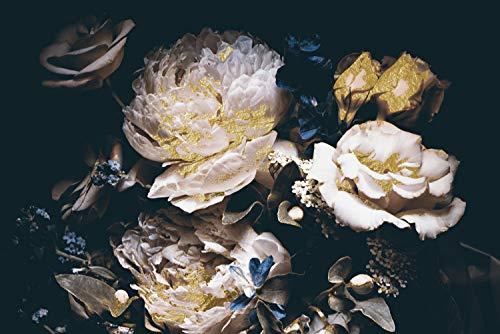 Queence | Acrylglasbild mit Blattgold | Wandbild Glasbild Acrylbild Rahmenlos | Blumen | Druck auf Acrylglas | Goldveredelung | Größe: 60x40 cm