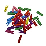 Imported 50pcs Assorted Color Wooden Pegs Clothes Pins Clips