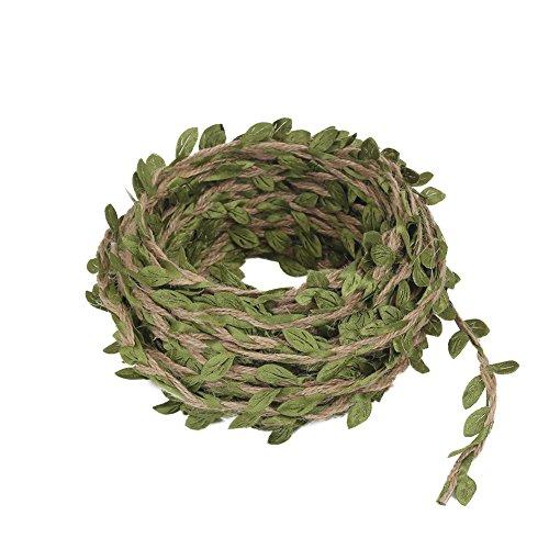 Vivifying 15m Natürliches Jute-Garn mit Grünen Kunstblättern Girlande für Hochzeiten Daheim Feste Dekoration