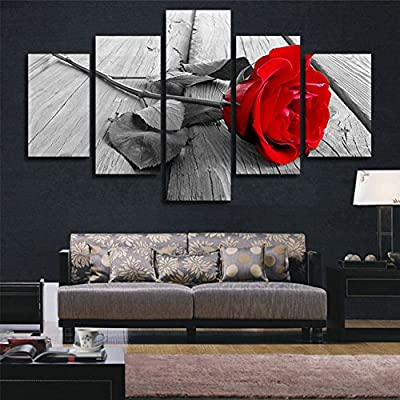 XrsArt 5 Piece Abstract Rose Modern Home Wall Decor Canvas Picture Art HD Print Painting Set of 5 Each Canvas Arts Unframed FCa01 50 inch x30 inch - cheap UK light shop.