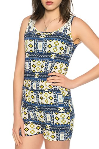 Dress Sheek Damen Jumpsuit Kurz Playsuit Sommer Spitze Luftig Mehrfarbig Gemustert Reißverschluss Overall C17159 - Blau