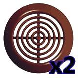 2x Lüftungsgitter Ø 45 mm rund braun Abluftgitter Zuluft Abluft Gitter Lüftung T73 br