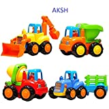 AKSH Unbreakable Automobile Car JCB Truck Toy Set For Children Kids Toys Construction Team Set Of 4 (Unbreakable Toys)
