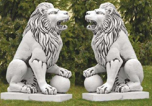 2 Löwen Set (S203008+S203011) Torwächter Gartenfiguren Statuen Steinguss 128 - Outdoor-löwen-statuen