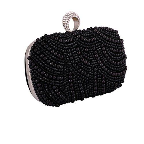 La Donna Di Sera Di Modo Pacchetto Sacchetto Del Poliestere Pochette Perla Perline Fatti A Mano Tenendo DarkBlack