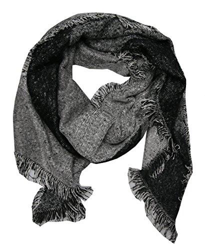 Damen Winter Schal XXL kariert dick lang mit Fransen Schultertuch Deckenschal Poncho Stola Schals schwarz (schwarz grau)
