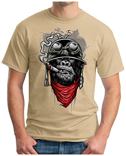OM3 - GORILLA-OF-DUTY - T-Shirt Smoking Monkey Biker Ape MC Rocker Motor Army Navy War Swag , L, Khaki (T-shirt Tee Design-khaki)