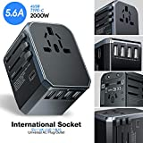 Reiseadapter, UNEEDE Universal Travel Adapter Weltweit USB Reisestecker Adapter mit 4 USB Ports Type C für USA Europe UK Australia