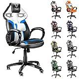 Diablo X-Gamer Racing Sport seduta sedia Sport Racer girevole sedia scrivania ufficio sedia (nero-bianco-blu)