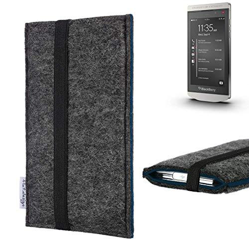 flat.design Handyhülle Lagoa für BlackBerry Porsche Design P9982 | Farbe: anthrazit/blau | Smartphone-Tasche aus Filz | Handy Schutzhülle| Handytasche Made in Germany
