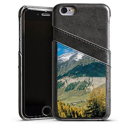 Apple iPhone 5s Housse Étui Protection Coque Montagne Colline Paysage Étui en cuir gris