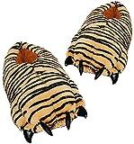 Unbekannt Hausschuh / Pantoffel - Pfote Tiger - Größen Gr. 39 - 42 - Plüschhausschuhe - für Kinder + Erwachsene - Plüsch Hausschuhe Tierhausschuhe / Damen Herren Kind -..