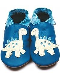 f94188fd968b Inch Blue Girls Boys Luxury Leather Soft Sole Pram Shoes - Dino Blue   Cream