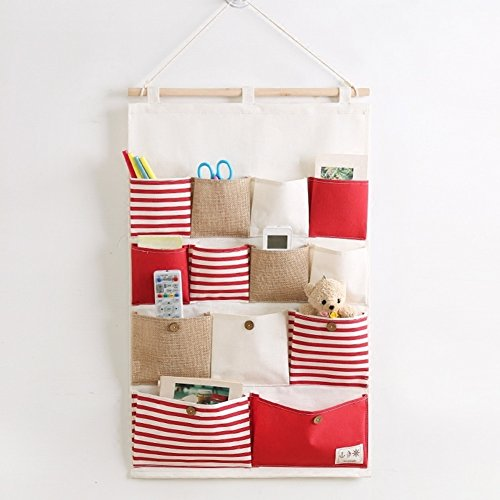 Strisce blu scuro portaoggetti da parete porta in lino cartoon organizzatore da appendere 13 tasche con gancio sacca portaoggetti per bambini(strisce rosse)