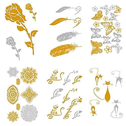 Piccolo tatuaggio temporaneo metallico metallizzato (6 fogli) oro argento simpatico impermeabile adesivi tatuaggi fasulli - parola fiore rosa piume di gioielli gatto farfalla (2.36x4.13 pollici)