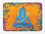 ARTOPB Yoga Bath Mat, Bohemian Ethnic Paisley and Peacock Feather Patterns Asian Figure and Cobra Mandala, Plush Bathroom Decor Mat with Non Slip Backing, 23.6 W X 15.7 W Inches, Multicolor
