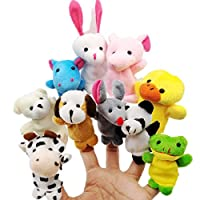 JZK 10 Animal finger puppet set small plush toy animal hand puppet for children kids party favours birthday party bag fillers