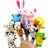 JZK 10 Animal finger puppet set small plush toy animal hand puppet for children kids party favours birthday party bag fillers Christmas gift