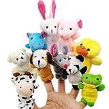JZK 10 Klein Tier Fingerpuppe Set plüschtier Handpuppe Mitgebsel Geschenk Gastgeschenk für Geburtstag Kinder Party Tasche Füllstoffe Weihnachten