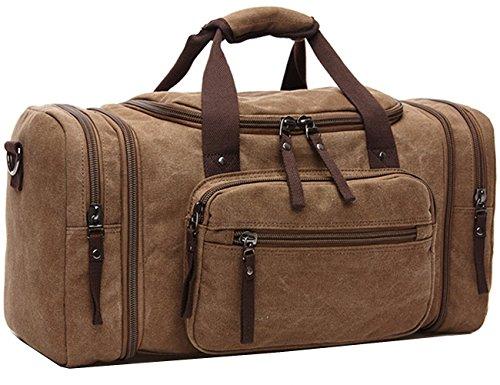 Fresion Herren Canvas Leder Holdall Reise Duffle Overnight Wochenende Satchel Totes Tasche mit zwei Seitentaschen für Erweiterungen (Kaffee)