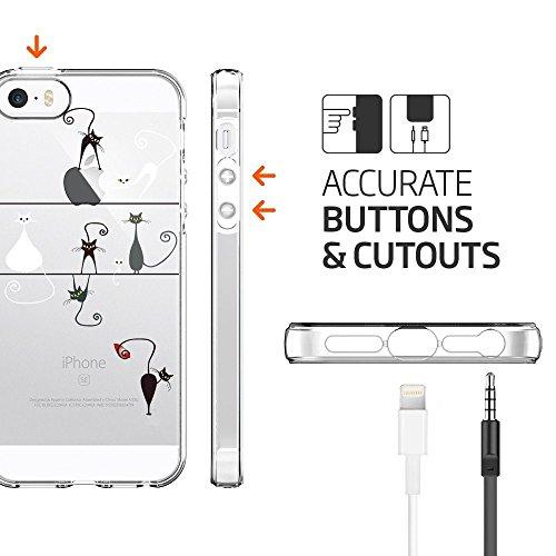 Qissy® TPU Case Cover For Apple iPhone 5 5S SE fiori rosa Soft TPU Silicone trasparente [Cristallo Paraurti] [Estremamente Sottile] [Anti-Scratch] Protective Custodia Caso (iPhone 5 5S S
