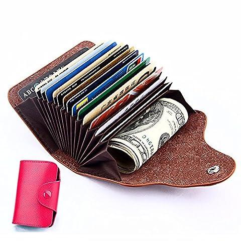 Kleine Portemonnaie, Leder Karten Geldbörse,Leder Karten Kreditkartenetui Kreditkartentaschen Visitenkartenetui Hülle-Halter-Schutz