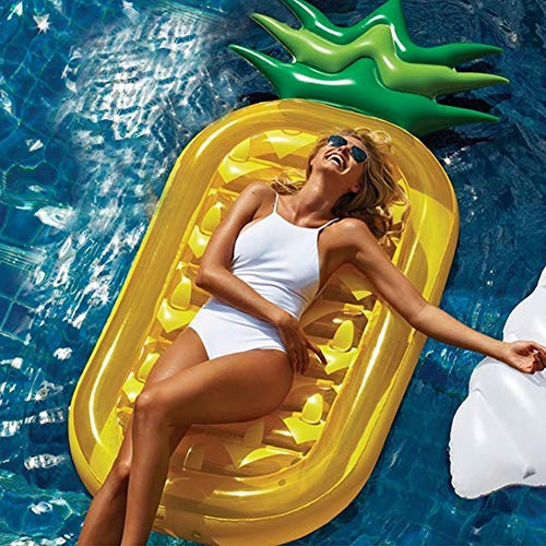 Colchoneta hinchable de arcoíris Colchoneta hinchable para nadar Válvula rápida de inflado de PVC, colchoneta de agua, para adultos y niños, para exteriores, Amarillo